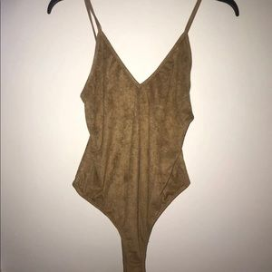 *NEVERWORN* suede bodysuit